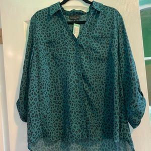 Green cheetah print shirt from Fortune + Ivy. New.